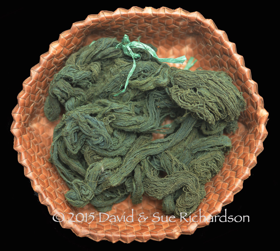 Description: Skein of turi-dyed cotton