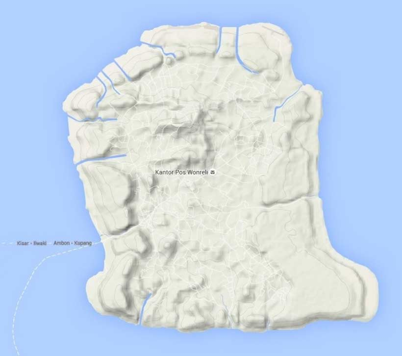 Description: Topographical map of Kisar Island