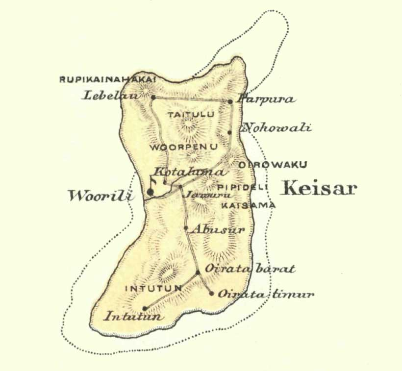 Description: A distorted map of Kisar (from Riedel 1886, 400-401)