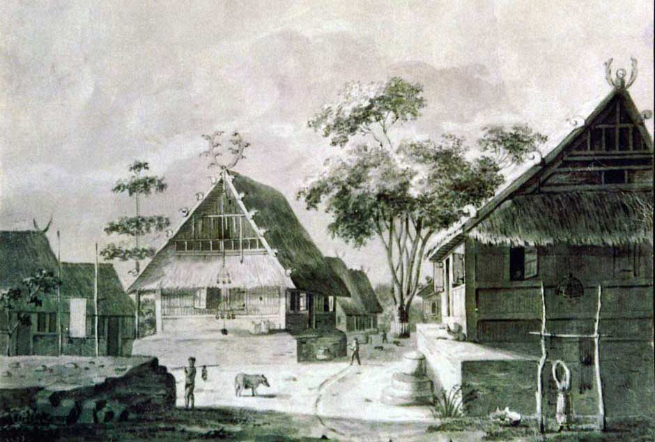 Description: A drawing of a Meher village on Kisar, undated