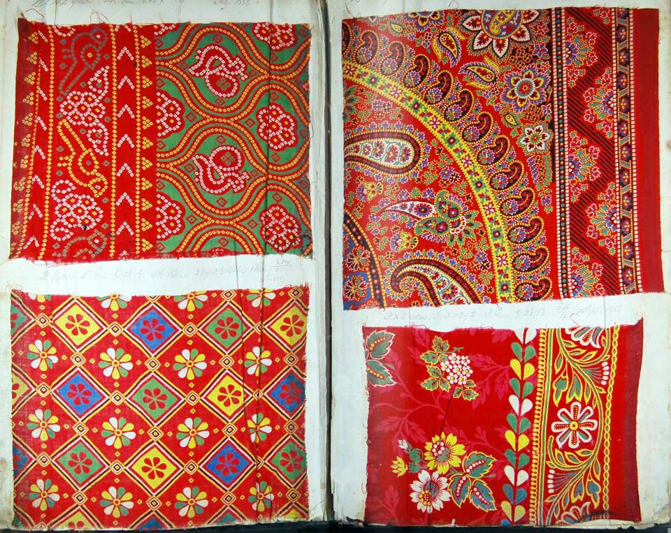 Description: Samples of calico dyed with Turkey Red from the Alexandria Print Works