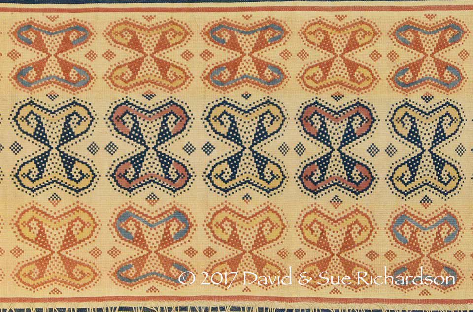 Description: The same butterfly motif executed in the pahudu rú kalu technique using commercial yarn